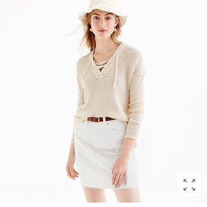 Jcrew Lace Up Linen Beach Sweater